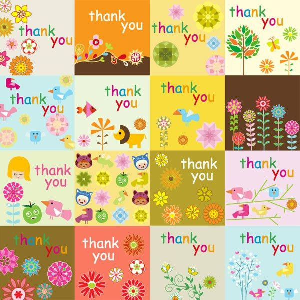 Super cute thank you card vector material – Over millions vectors ...
