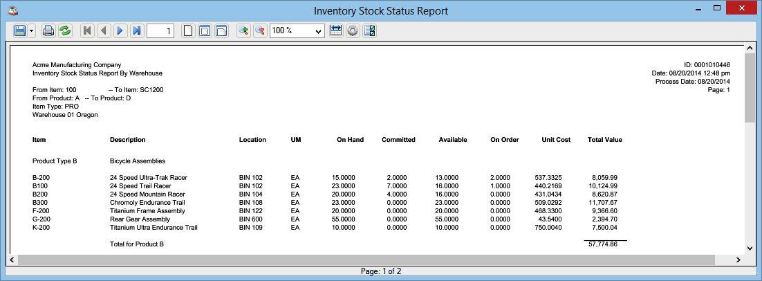 Inventory Stock Status Report
