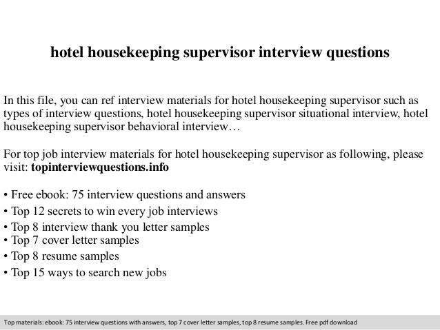 Hotel housekeeping supervisor interview questions