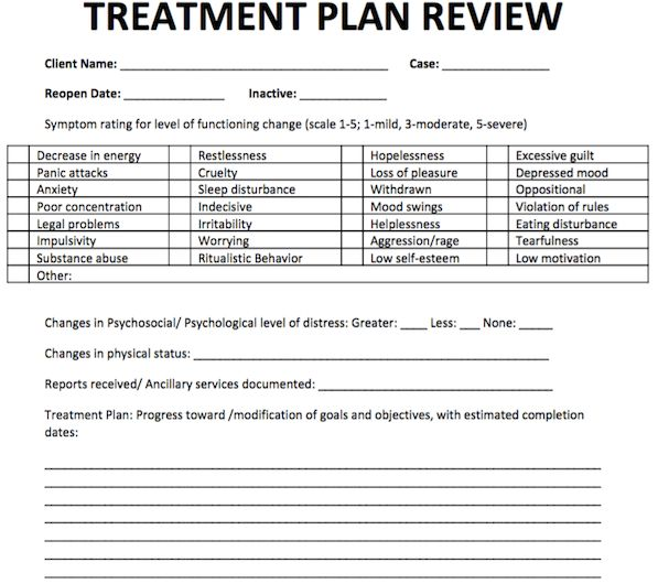 Treatment Plan Review | Free Counseling Note Templates | Pinterest ...