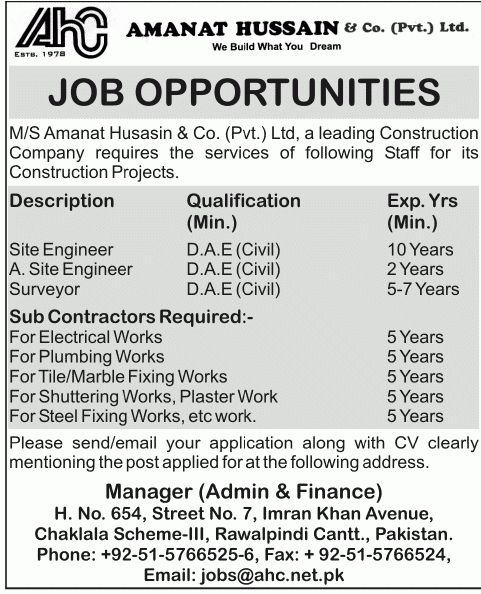 Works Job, Amanat Hussain Construction Company Job, Site Engineer ...