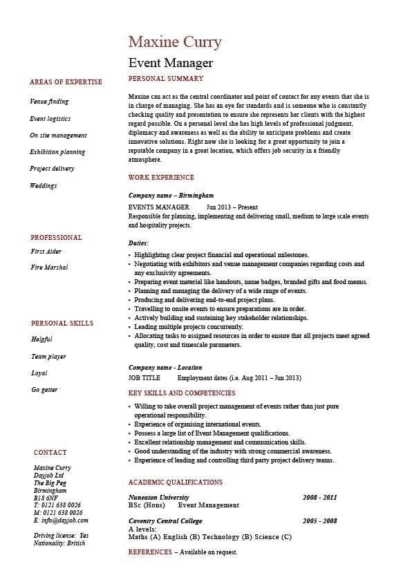 Event Manager Resume Sample | Best Resume For You
