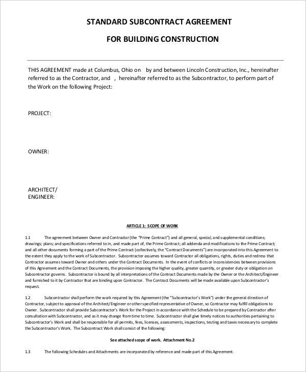 Construction Agreement Template. Construction Contractor Agreement ...