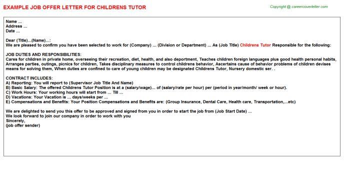 Childrens Tutor Offer Letter