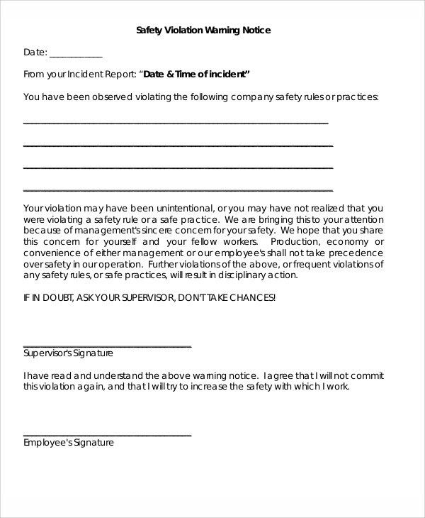 8+ Safety Warning Letter Templates - Free Sample, Example Format ...