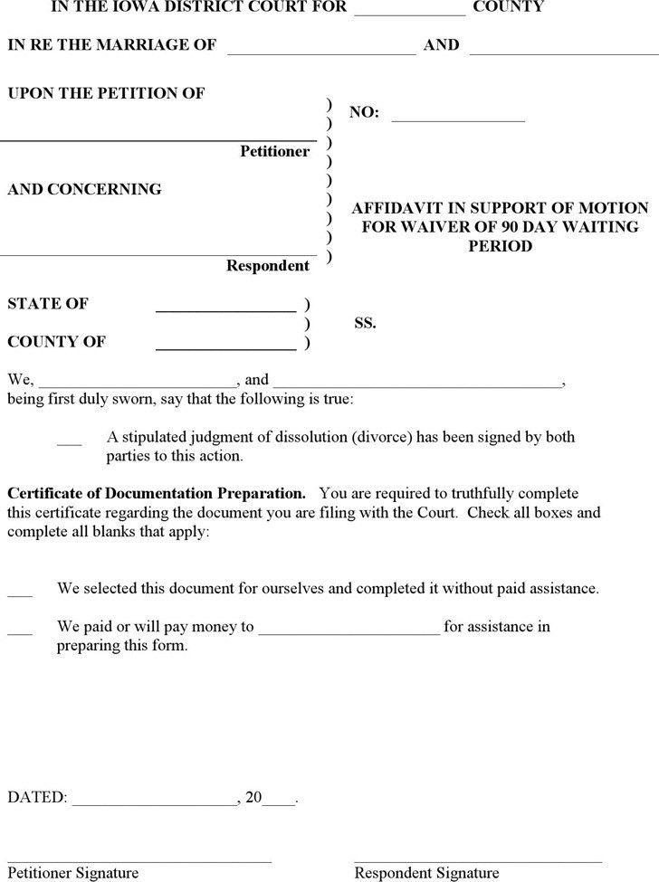 Iowa Affidavit Form | Download Free & Premium Templates, Forms ...