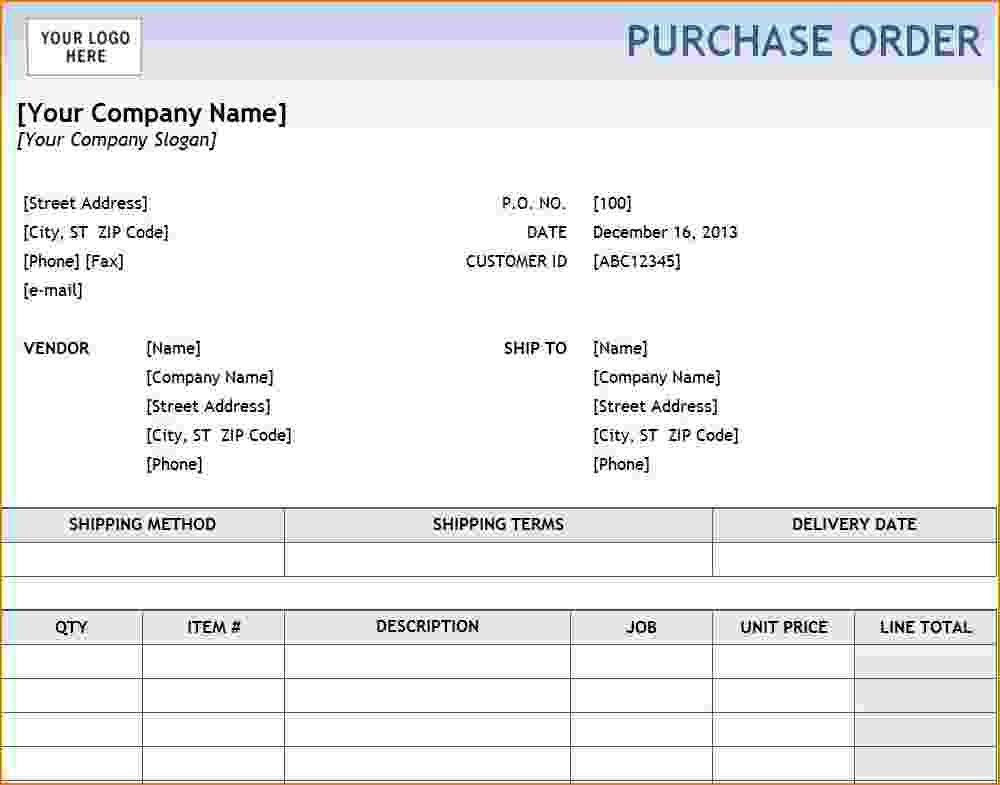 6+ excel purchase order template | teknoswitch