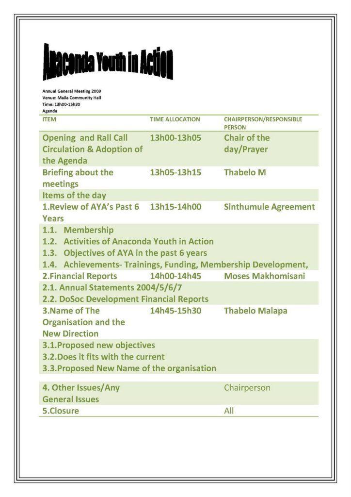 Agenda Sample. Business Committee Meeting Agenda Sample Template ...