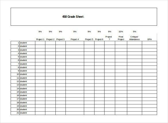 Grade Sheet Template - 32+ Free Word, Excel, PDF Documents ...