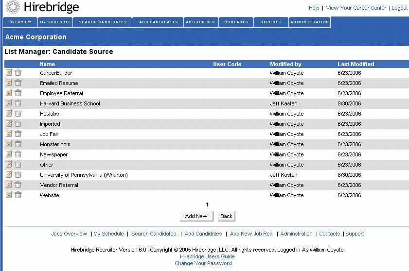 Hirebridge Applicant Tracking System :: Screenshots