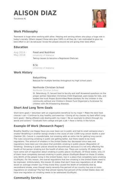 Babysitting Resume samples - VisualCV resume samples database