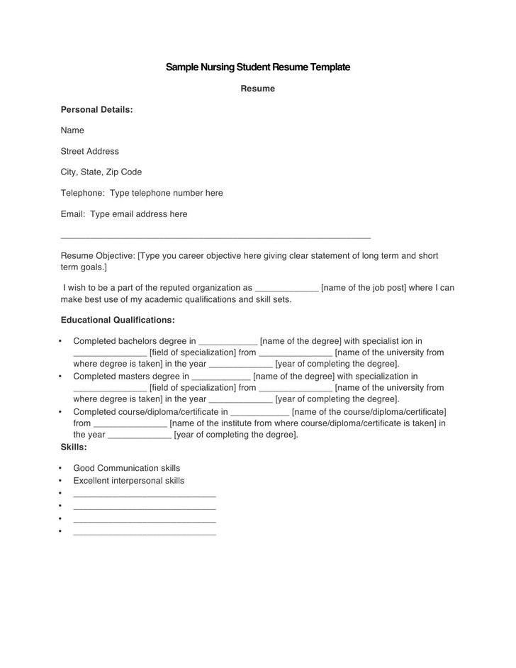 Nursing Student Resume Template. Sample College Student Academic ...