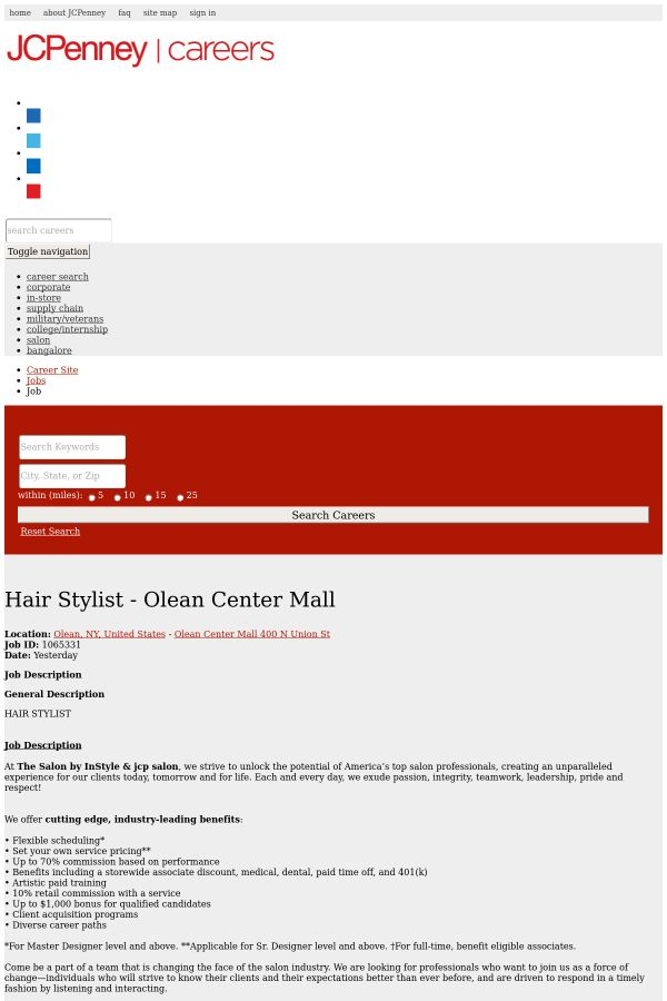 Hair Stylist - Olean Center Mall job at JCPenney in Olean, NY ...