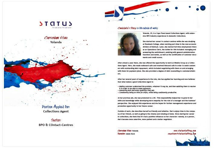 Top Candidate CV (Yolanda – Collections Agent) | Status Staffing