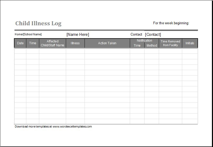 Child Illness Log Editable Printable MS Excel Template | Word ...