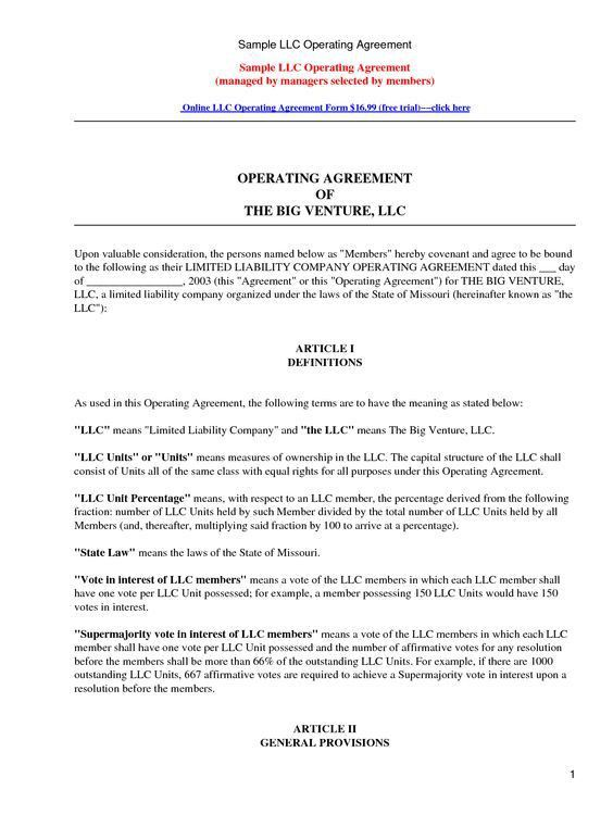 LLC Operating Agreement - Sample & Template - llc partnership ...