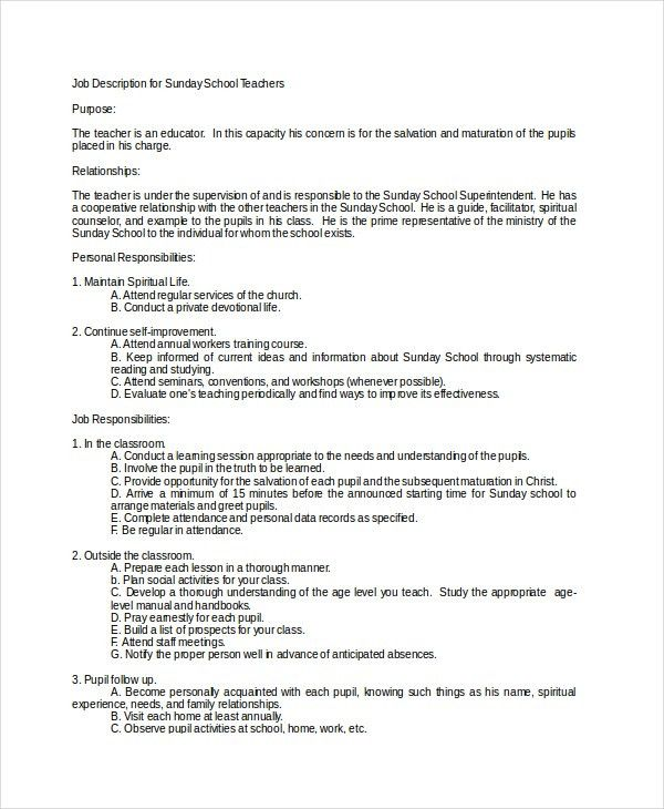 12+ Teacher Job Descriptions - Free Sample, Example, Format | Free ...