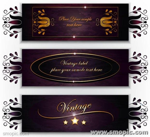 3 purple vector wine labels design template vintage labels EPS ...