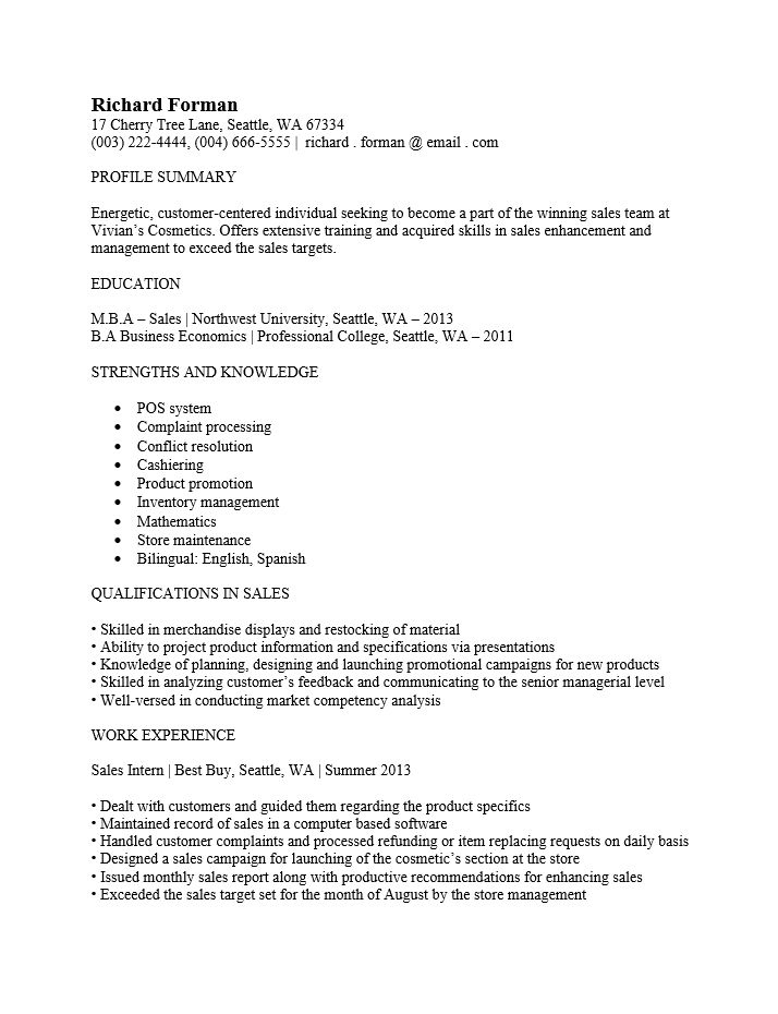 Free Entry Level Sales Associate Resume Template | Sample | MS Word