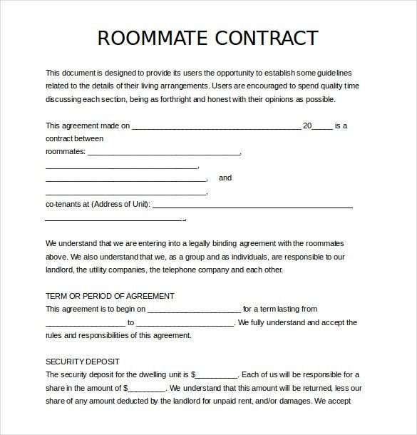 12+ Roommate Agreement Templates – Free Sample, Example, Format ...