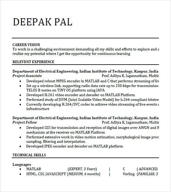 hr fresher resume format template. civil engineer fresher resume ...