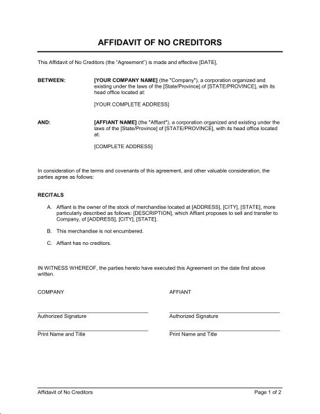Standard Affidavit of No Creditors Form and Template Sample ...