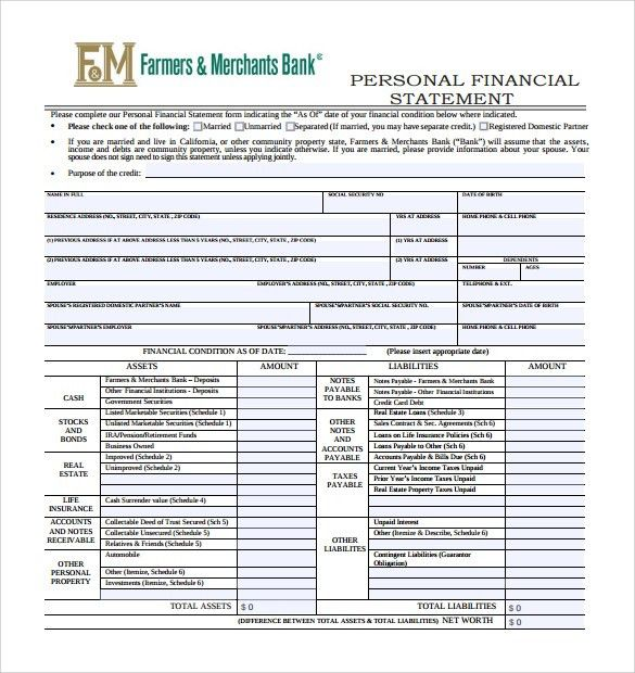 Personal Financial Statement Form - 14+ Free Samples, Examples, Format