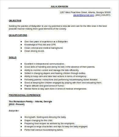 babysitter resumes unforgettable babysitter resume examples to