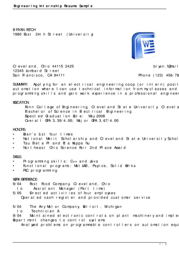 Perfect Sample Internship Resume and Best Summary featuring ...