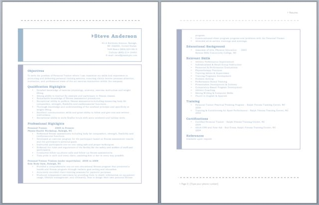 Personal Trainer Resume – Sample Resumes