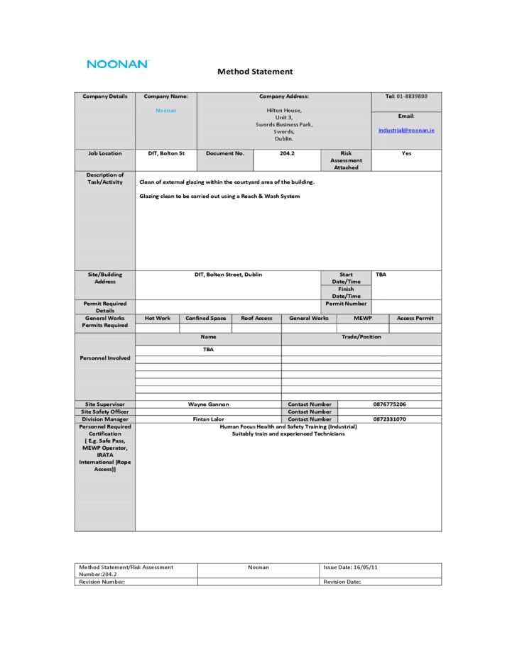 Standard Method Statement Template Free Download