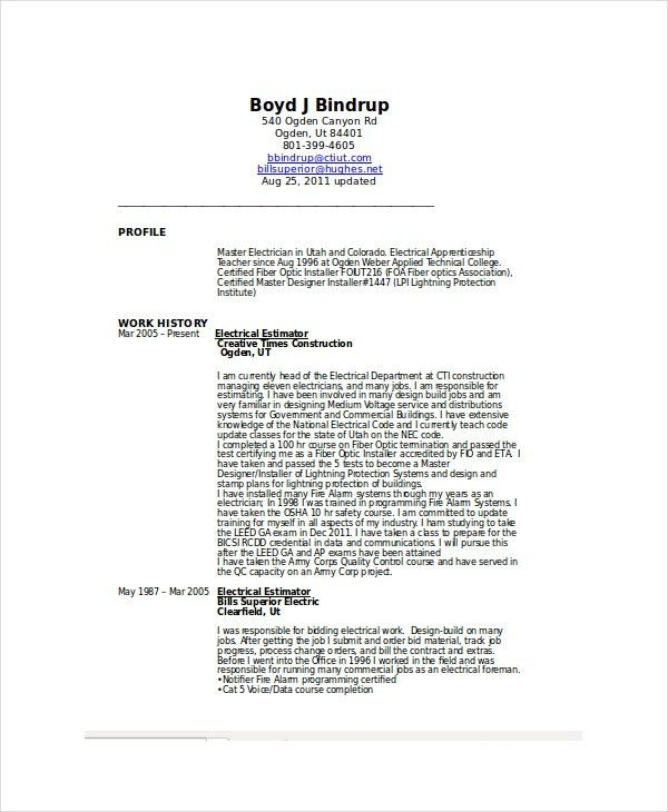 Electrician Resume Template. Apprentice Electrician Cover Letters ...