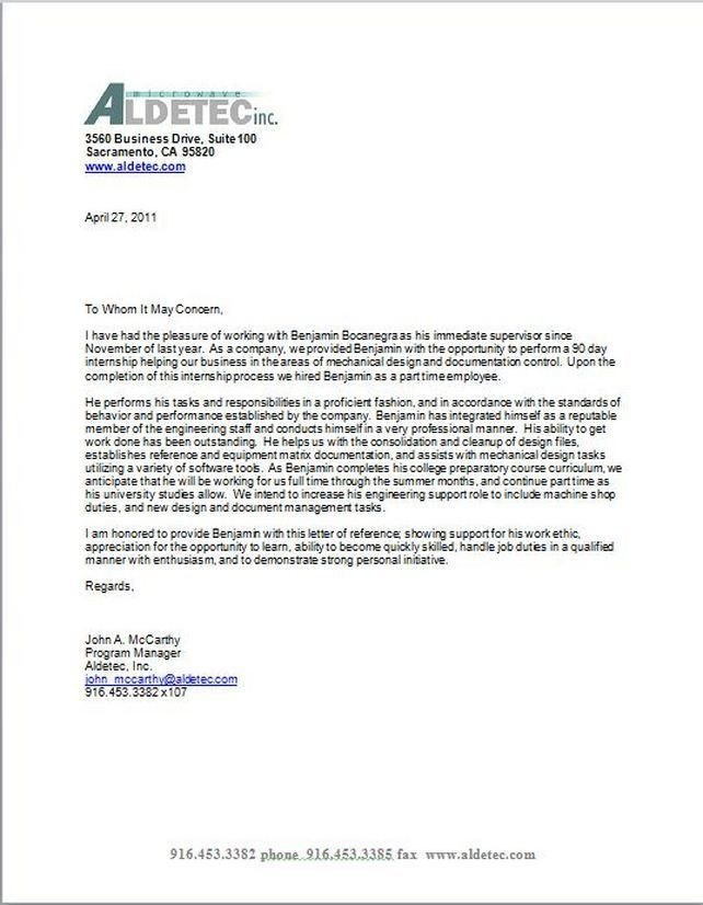 reference letter for college application
