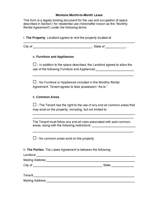 Montana Rental Lease Agreement Templates | LegalForms.org