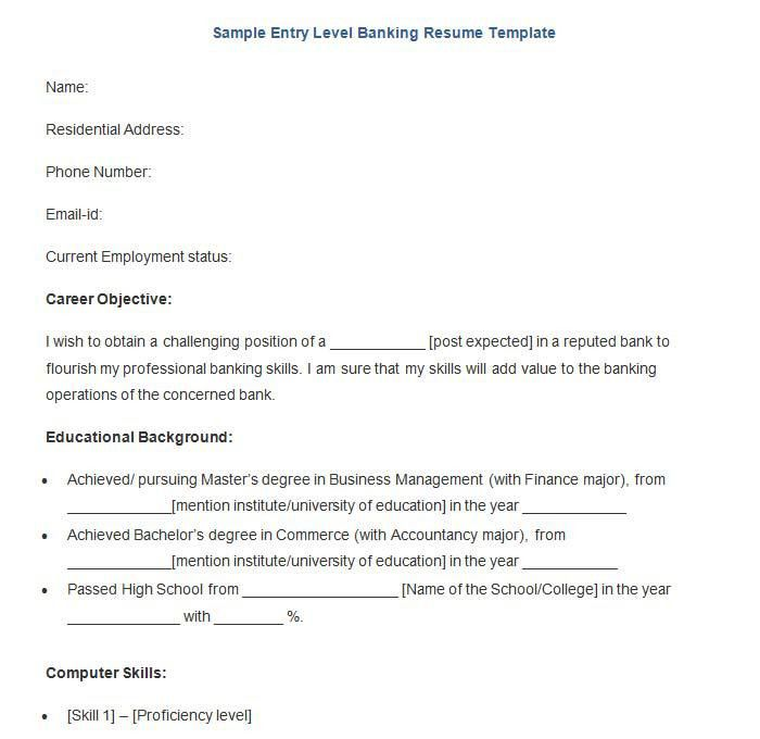 Banking Resume Template – 21+ Free Samples, Examples, Format ...