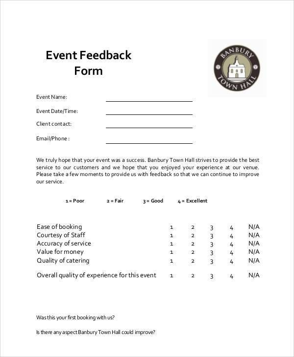 Event Feedback Form Sample Event Feedback Form  Examples In Word