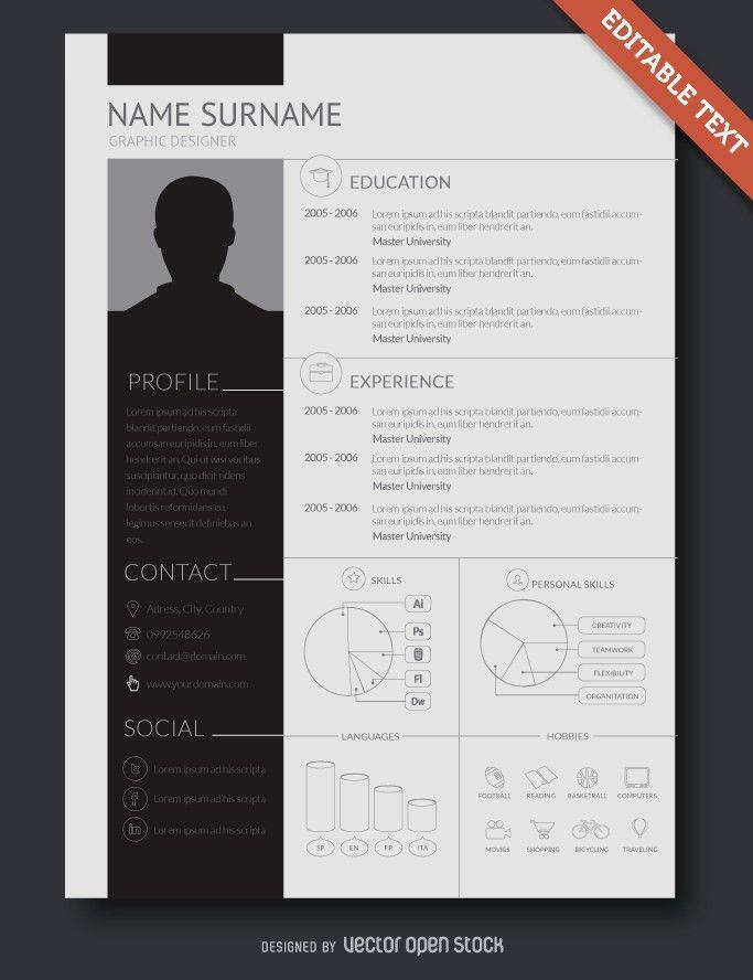 Graphic Designer Resume CV - Vector download