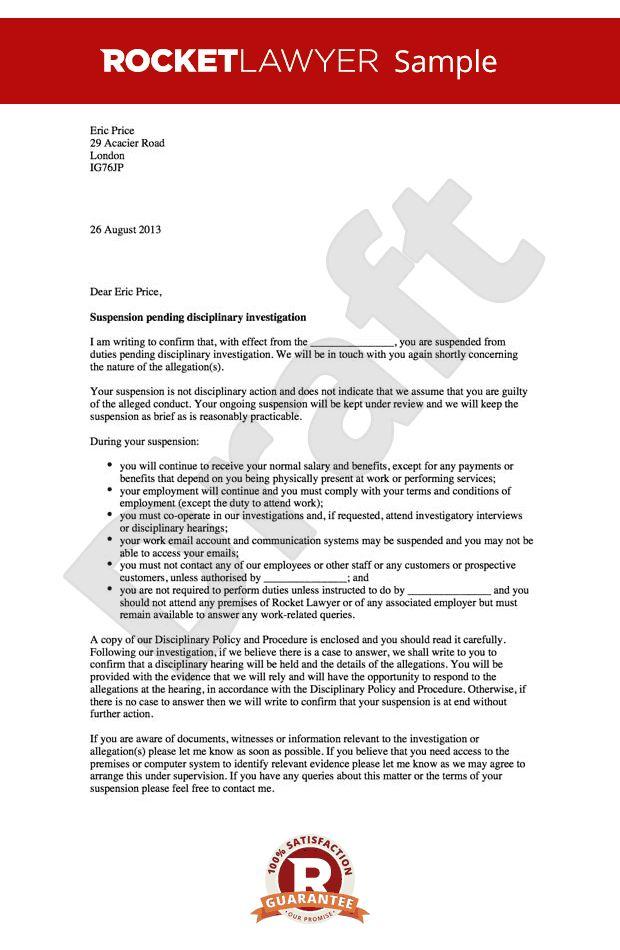 Letter Pending Investigation - Letter suspending an employee