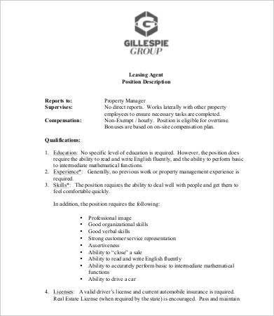 Leasing Consultant Job Description - 5 Free PDF Format Download ...