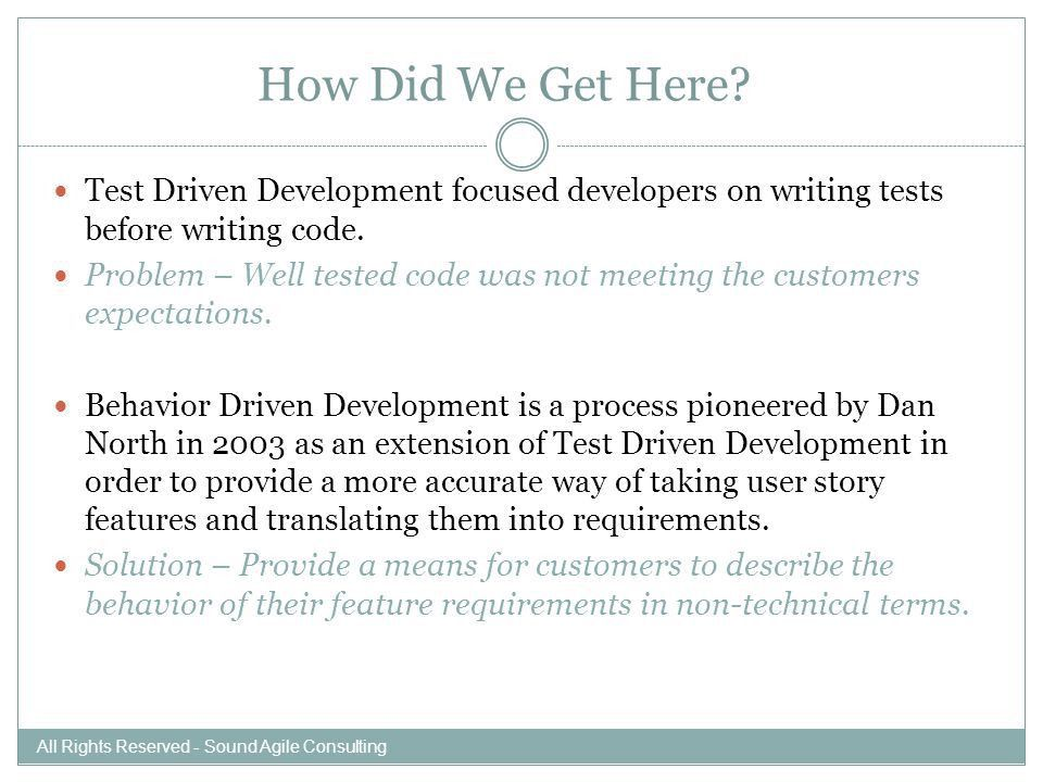 BEHAVIOR DRIVEN TEST DEVELOPMENT Specification by Example All ...