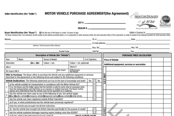 Sample Documents - The Vehicle Sales Authority of BC