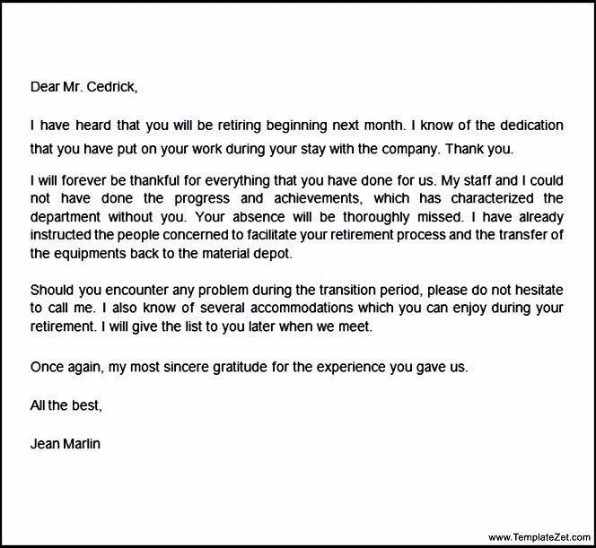 Congratulations on Your Retirement Letter   TemplateZet