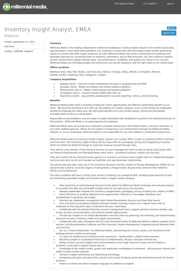 Inventory Insight Analyst, EMEA job at Millennial Media in London ...