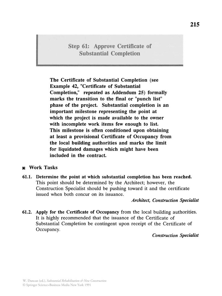 Approve Certificate of Substantial Completion - Springer