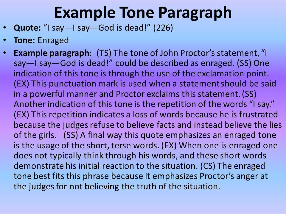 The Crucible 3.8 Tone Paragraph Prewriting Example from Act III ...