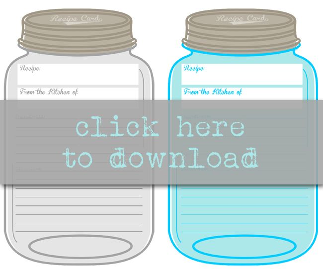 Free Printable Mason Jar Recipe Cards | Mason jar recipes, Free ...