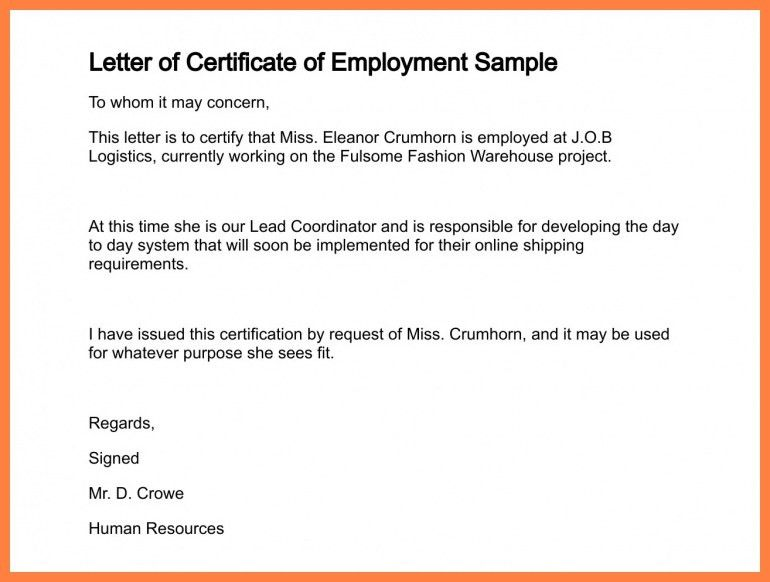 Request Letter Format For Certificate Of Employment | The Letter ...
