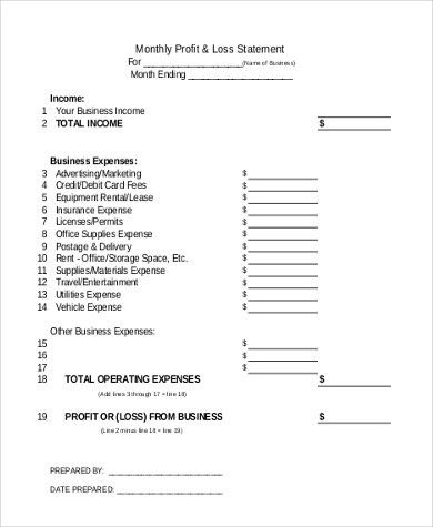 Sample Profit and Loss Statement Form - 8+ Free Documents in Excel ...