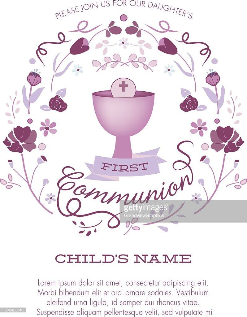 First Communion Invitation Template With Chalice And Abstract ...
