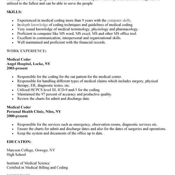 Incredible Inspiration Medical Coding Resume Samples 8 Coding ...